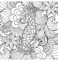 Cute cockatoo in fantasy garden vector