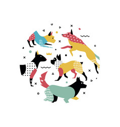 cute dogs in memphis style with geometric shapes vector image