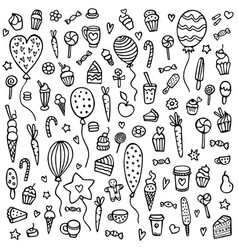 cute hand-drawn background with sweets vector image