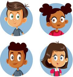 Cute happy children cartoon set vector