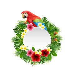 cute parrot with blank sign on plant background vector image