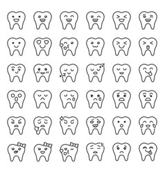 cute tooth cartoon emoticon set line style vector image