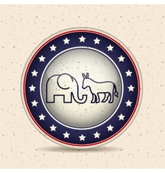 Donkey and elephant of vote inside button design vector