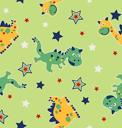 Dragon and stars seamless pattern vector image
