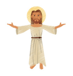 drawing jesus christ character vector image