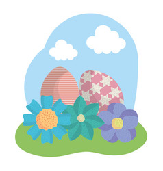 eggs painted easter with flowers in the field vector image