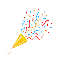 Exploding party popper cone with confetti isolated vector