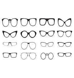 Eyeglasses silhouette set vector