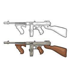 gangsters automatic weapon tommy gun engraving vector image