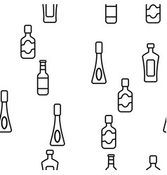glass bottles linear seamless pattern vector image