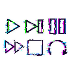 glitch music icons glitched play pause stop icon vector image