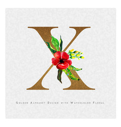 Golden letter x watercolor floral background vector