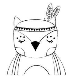 Grunge cute owl animal with feathers decoration vector