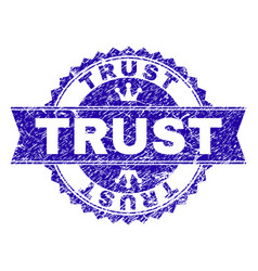 Grunge textured trust stamp seal with ribbon vector