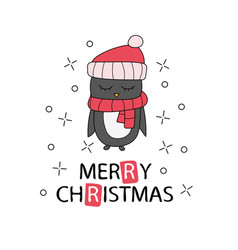hand drawn christmas greeting card with pinguin vector image