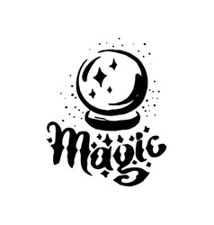 Hand drawn witch and magic item crystal vector