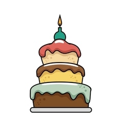 Happy birthday delicious cake vector