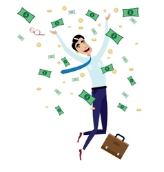 Happy businessman jumping with money vector image