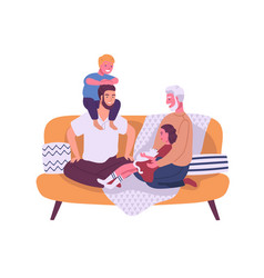 Happy homosexual family with children sitting on vector