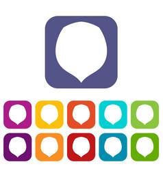 Hazelnut icons set flat vector