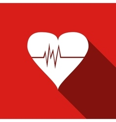 Heart Rate icon with long shadow vector image
