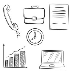 Icon set business office and communication vector