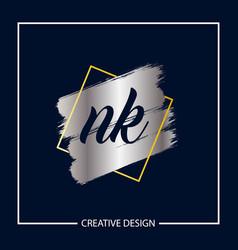 Initial nk letter logo template design vector