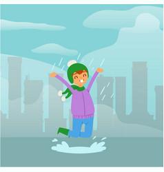 joyful funny girl in rain child jumping in vector image