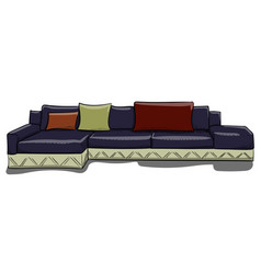 large dark blue sofa with pillows on a white vector image