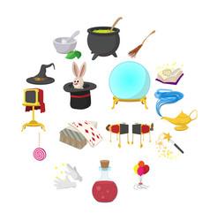 Magic cartoon icons set vector