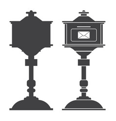 mail box post outline icon vector image
