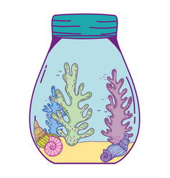 Mason jar with seaweed vector