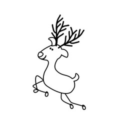 Monochrome contour caricature of graceful reindeer vector