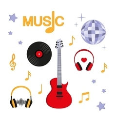Music Guitar music record headphones disco vector image