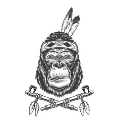 native american indian serious gorilla head vector image