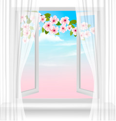 nature spring background with open window and vector image