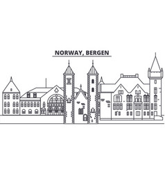 Norway bergen line skyline vector