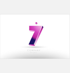 number 7 seven black white pink logo icon design vector image
