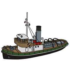 Old harbour tugboat vector image