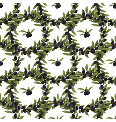 Olives seamless pattern with ripe olives vector