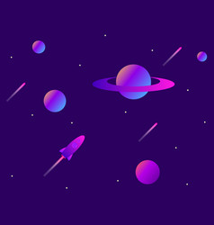 open space planets meteors and space rocket space vector image