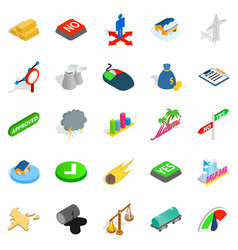 Pennant icons set isometric style vector
