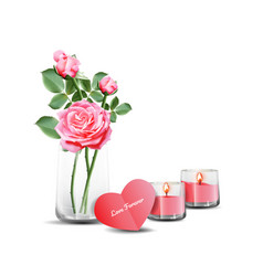 pink roses in clear glass with card and candles vector image