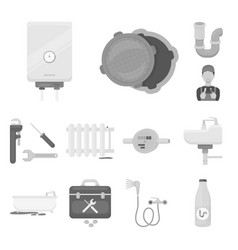 Plumbing fitting monochrome icons in set vector