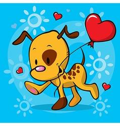 Puppy running with balloon vector