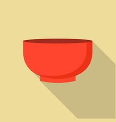 red bowl icon flat style vector image