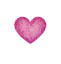 red pencil drawing love heart isolated over white vector image