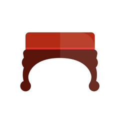 Red vintage ottoman with wooden curved legs vector