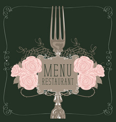 Restaurant menu with fork and pink roses vector