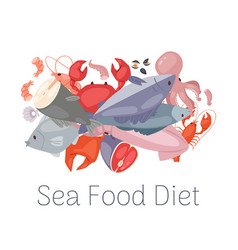 seafood and fresh fish diet from lobster crab vector image